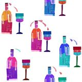 Pattern of bottles of wine and glasses stock photo