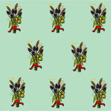 Pattern on bouquet of flowers and cereals with a red ribbon. Pattern on a green background bouquet of flowers and cereals with a red ribbon Stock Images