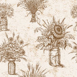 Pattern with bouquets of flowers, cereals and dried herbs in rus. Hand drawn pattern with various bouquets of wildflowers, cereals and dried herbs in rustic stock illustration