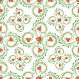 Pattern branches of curls with orange berries stock illustration