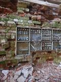 Old Fuse boxes. Abandoned Halla Factory Kotka Finland, pattern royalty free stock photography