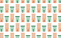 Pattern from brick pink and green houses. Pattern tracery house home green pink window light colors porch dwelling soft architecture harmony cute in vector city stock illustration