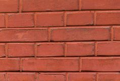 Pattern brick wall rectangular stone painted red terracotta color element of the historic wall urban design base stock images