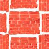 Pattern of brick wall in watercolor style.terracotta color.orange. bricks wall design element. royalty free illustration