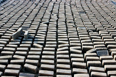 Pattern of bricks. Mud brick before burning on a workshop in India Stock Images