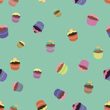 Pattern with bright cupcakes Royalty Free Stock Photography