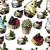 Pattern with bright and delicious pies, cupcakes Stock Photos