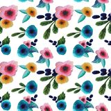 Pattern with bright flowers vector illustration