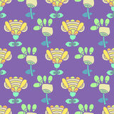 Pattern with bright flowers on a purple background. For textiles, interior design, for book design, website background Stock Photography
