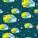 Pattern with bright green-blu fishes and bubbles Royalty Free Stock Photo