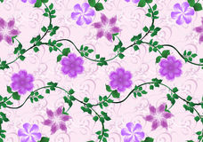 Pattern with bright lilac flowers on pink background Royalty Free Stock Photography
