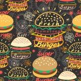 Pattern bright tasty burgers Stock Photo
