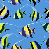 Pattern with bright yellow fish Stock Images