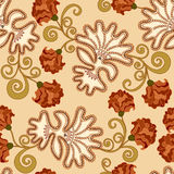 Pattern with brown carnations and lace elements Stock Photo