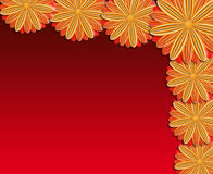 Pattern from brown flowers on red background Stock Photos