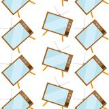 Pattern of brown, old, vintage, retro, hipster TVs with bulging kinescope on legs with an antenna on a white background. Vector illustration Stock Images