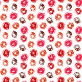 Pattern with brushed circles in coral red Stock Photos