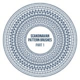 Pattern brushes inspired by scandinavian, finnish folk art. Nordic blue and white circle border, frame. Vector brushes. Are included in brush pallet Stock Photography