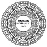 Pattern brushes inspired by scandinavian, finnish folk art. Nordic blue and white circle border, frame. Vector brushes. Are included in brush pallet royalty free illustration