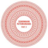 Pattern brushes inspired by scandinavian, finnish folk art. Nordic red and white circle border, frame. Vector brushes. Are included in brush pallet Royalty Free Stock Photography