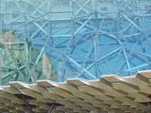 Pattern of a building at Fed square. Green glass metal and polyester in modern architecture on Federation square in Melbourne in Victoria in Australia Photo stock photography