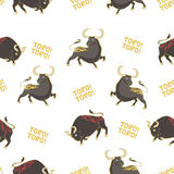 Pattern with bulls. Seamless vector pattern with bulls. Corrida Stock Photography