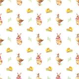 Pattern Bunny, duck and chicken Stock Photo