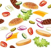 Pattern with burger ads without any background stock photos