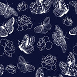 Pattern butterflies and roses on dark blue background. Royalty Free Stock Photography