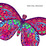 Pattern of butterfly. Hand draw colorful butterfly pattern Stock Photography