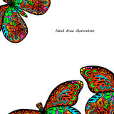 Pattern of butterfly. Hand draw colorfull butterfly background Royalty Free Illustration