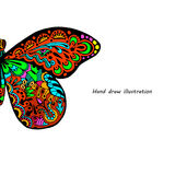 Pattern of butterfly. Hand draw colorfull butterfly background Vector Illustration