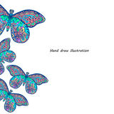 Pattern of butterfly. Hand draw colorfull butterfly background stock illustration