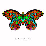 Pattern of butterfly. Hand draw colorfull butterfly sketch Royalty Free Illustration