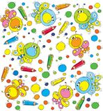 Pattern Butterfly and Pencils Royalty Free Stock Images