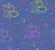 Pattern with butterfly. Seamless pattern with butterfly and heart Royalty Free Stock Image