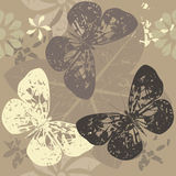 Pattern with Butterfly silhouettes on blossom flowers. Floral seamless pattern with flowers and butterfly Royalty Free Stock Image