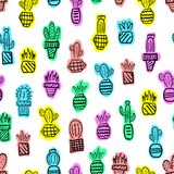 Pattern cacti hand-drawn. The pattern of black cacti hand-drawn with colored spots on a white background royalty free illustration