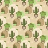 Pattern of cacti. Linear illustration. vector Royalty Free Stock Photo
