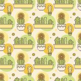 Pattern of cacti. Linear illustration. vector Royalty Free Stock Image