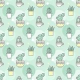 Pattern of cacti. Linear illustration. vector Stock Photos