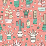 Pattern with cactuses Stock Photography