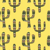 Pattern with cactuses on a yellow background Royalty Free Stock Image