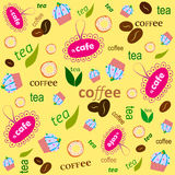 Pattern a cafe yellow. Vector pattern. The text of coffee, tea. Background yellow. Suitable for cafes Stock Photo