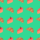 Pattern with cake and croissant Stock Images