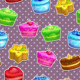 Pattern with cake stickers Royalty Free Stock Photos