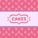 Pattern with cakes and cupcakes Stock Photos