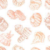 Pattern with cakes Royalty Free Stock Photo