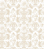 Pattern with calavera skulls. Simple pattern with calavera scull and merigold flowers and leaves Stock Image