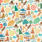 Pattern with camping Royalty Free Stock Photos